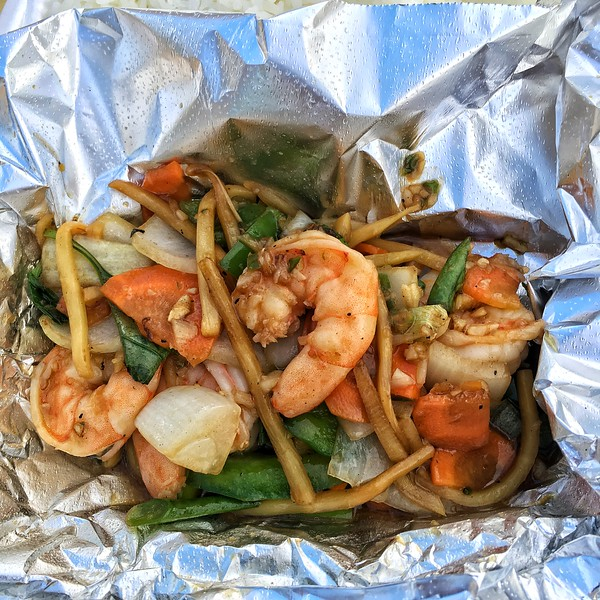 Dinner from a Thai food truck, Alpine