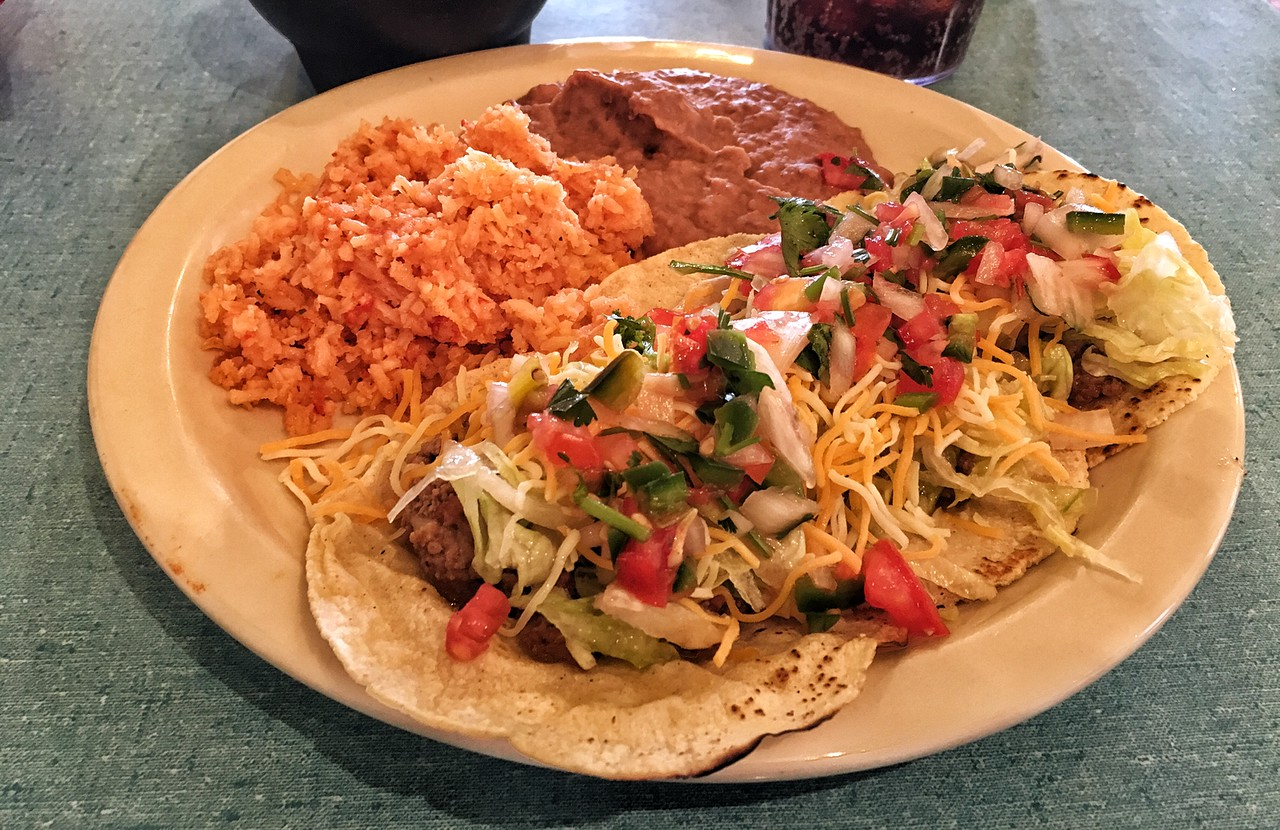 Picadillo tacos from El Patio, Alpine