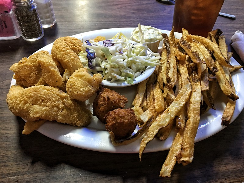 All you can eat catfish night at Mary's Cafe, Strawn