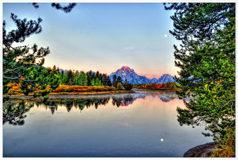 Morning moon at Oxbow Bend (Explored Sep 24, 2010 #486)