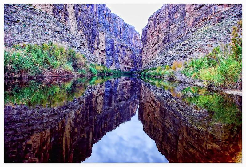 Mouth of Santa Elena Canyon reflected in the Rio Grande