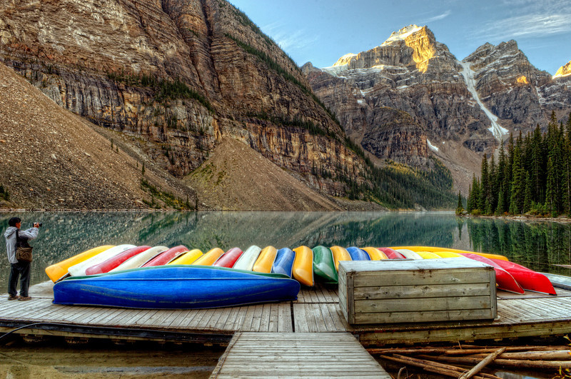 Colorful canoes at Lake Moraine