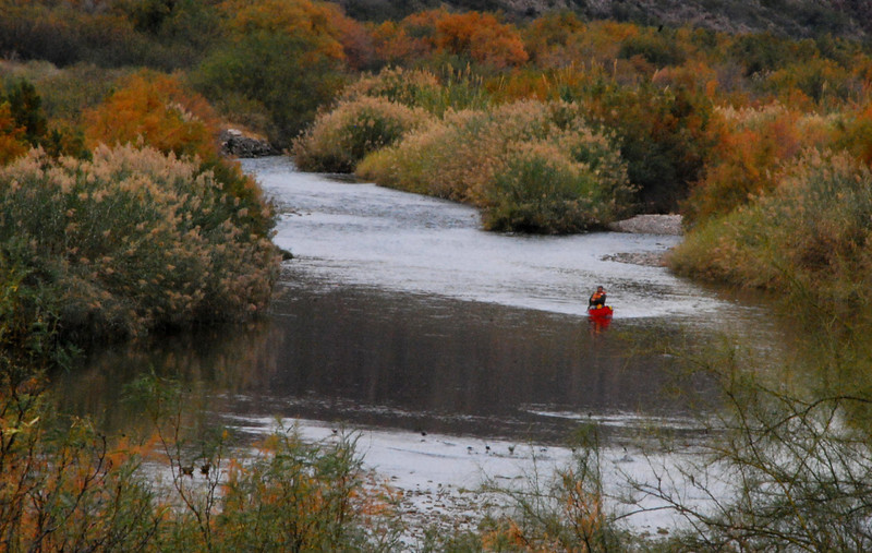 Canoeist on the Rio Grande - Big Bend Ranch State Park