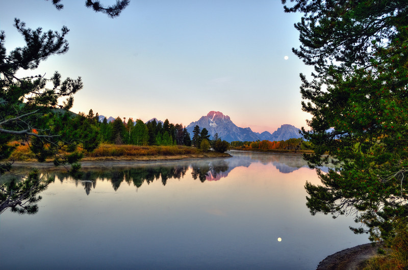 Morning moon at Oxbow Bend