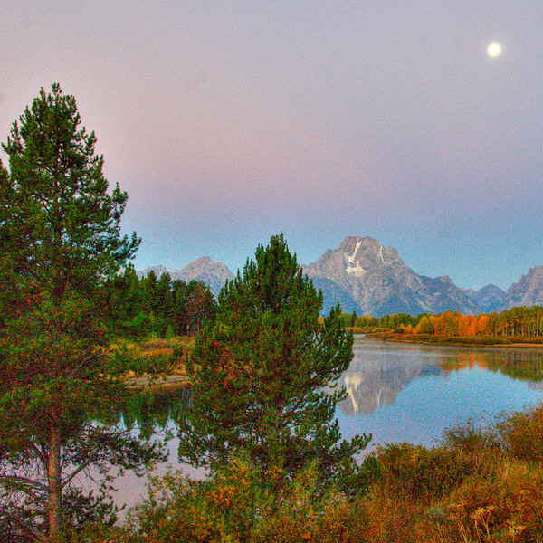 Morning moon on the Oxbow Bend