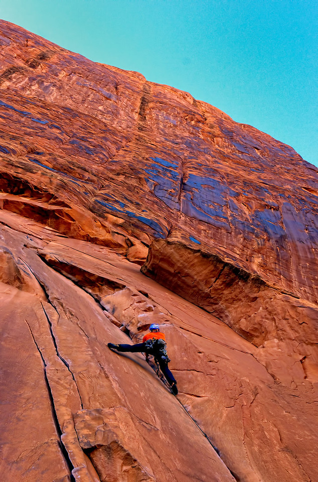 Rock climber on Potash Road near Moab