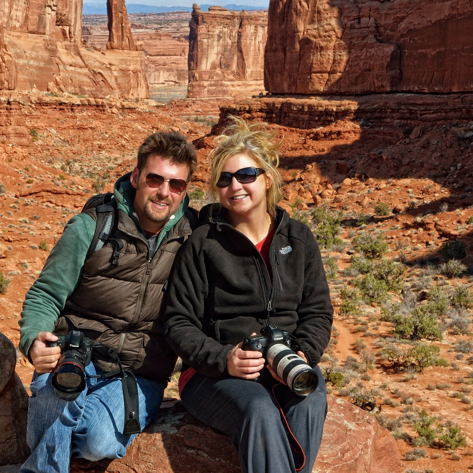 Clark and Jaki at Park Avenue, Arches National Park