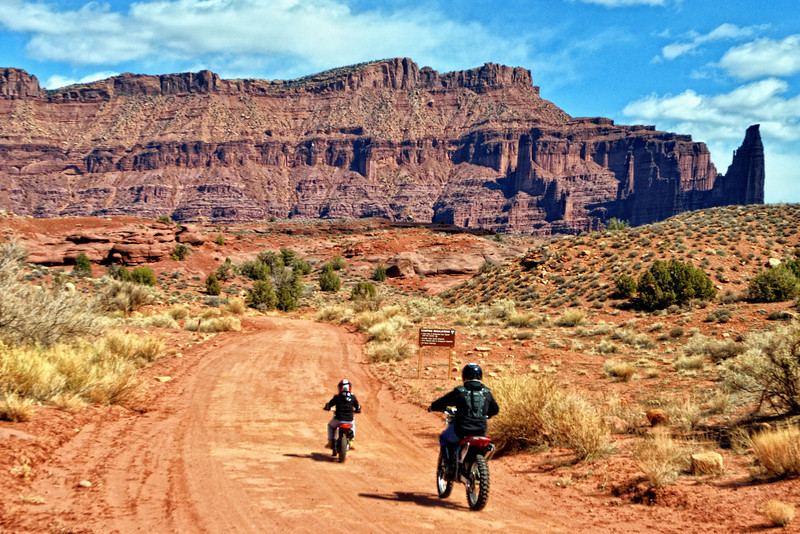 Two wheel offroading near Fisher Towers