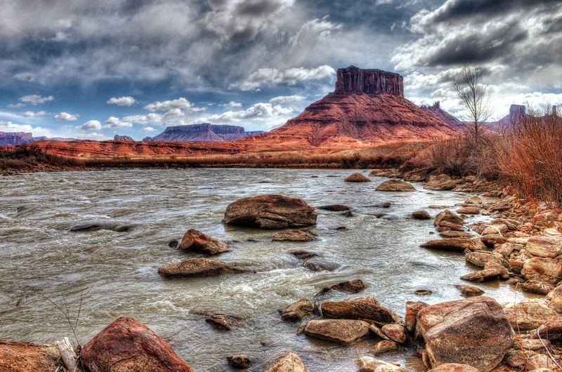 Rocky Rapids on the Colorado River, with the buttes of Professor Valley in the background