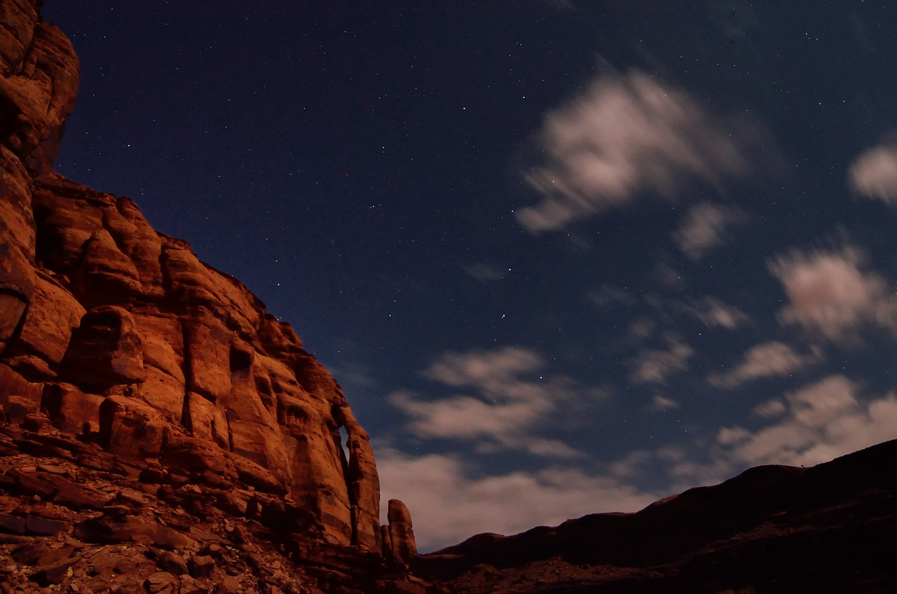 Night view of the Jug Handle Arch, Moab