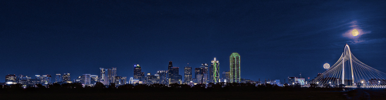 Dallas skyline with full (super) moon rising