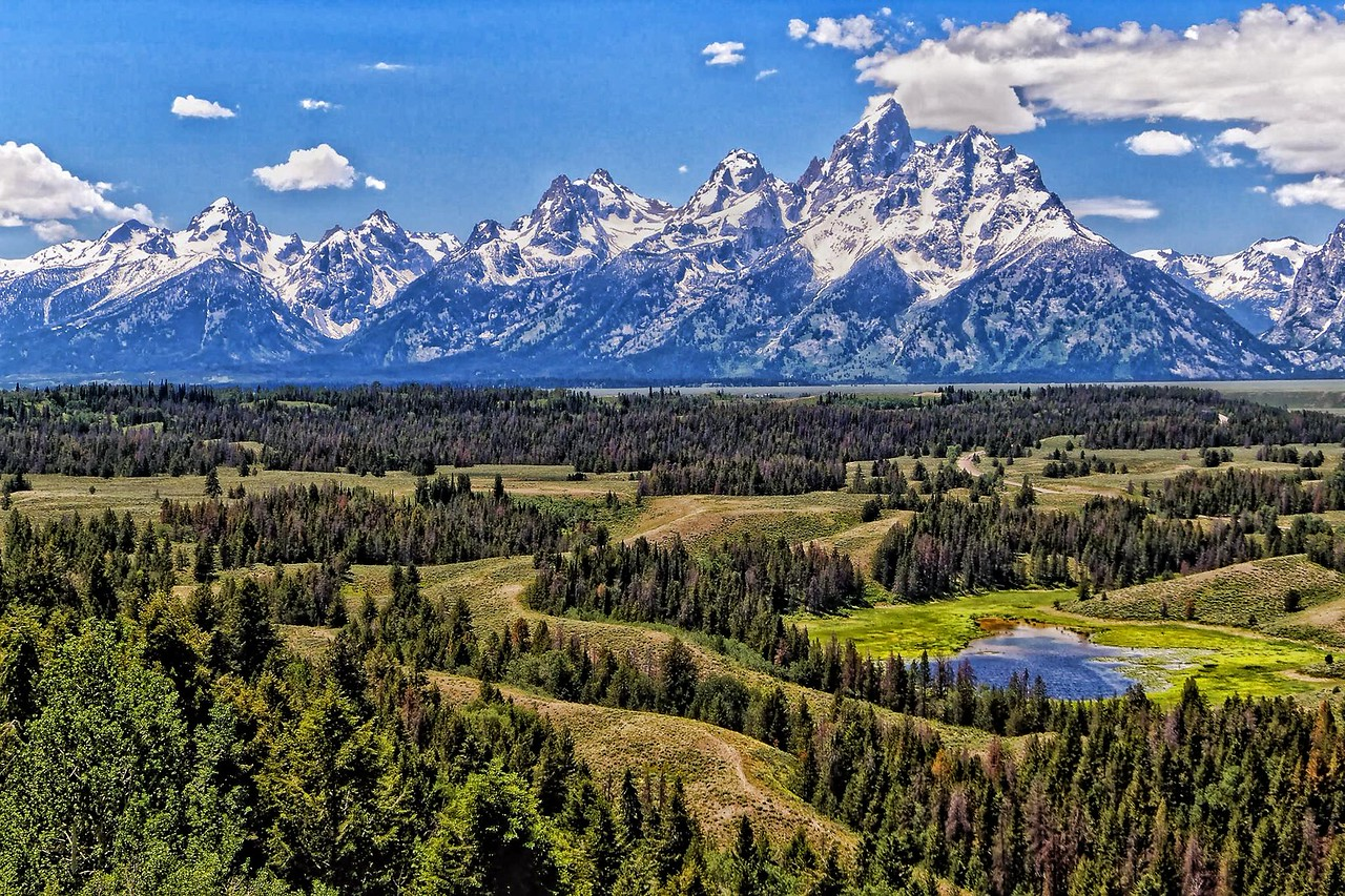 Grand Tetons from Hedrick Pond Overlook