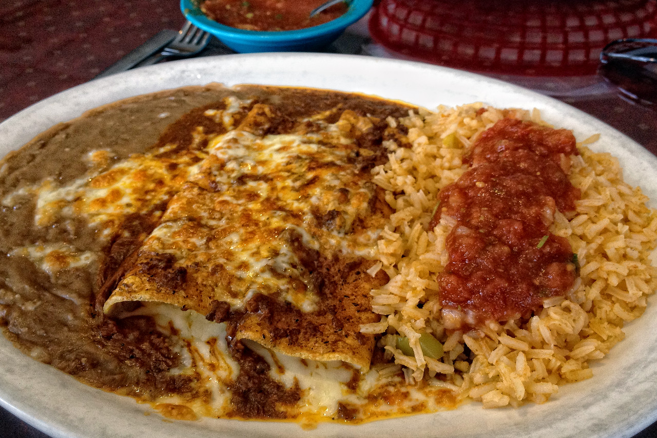 Cheese and onion enchiladas from Ernesto's, Garland, TX