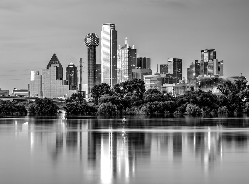 Dallas skyline with Trinity reflection in monochrome