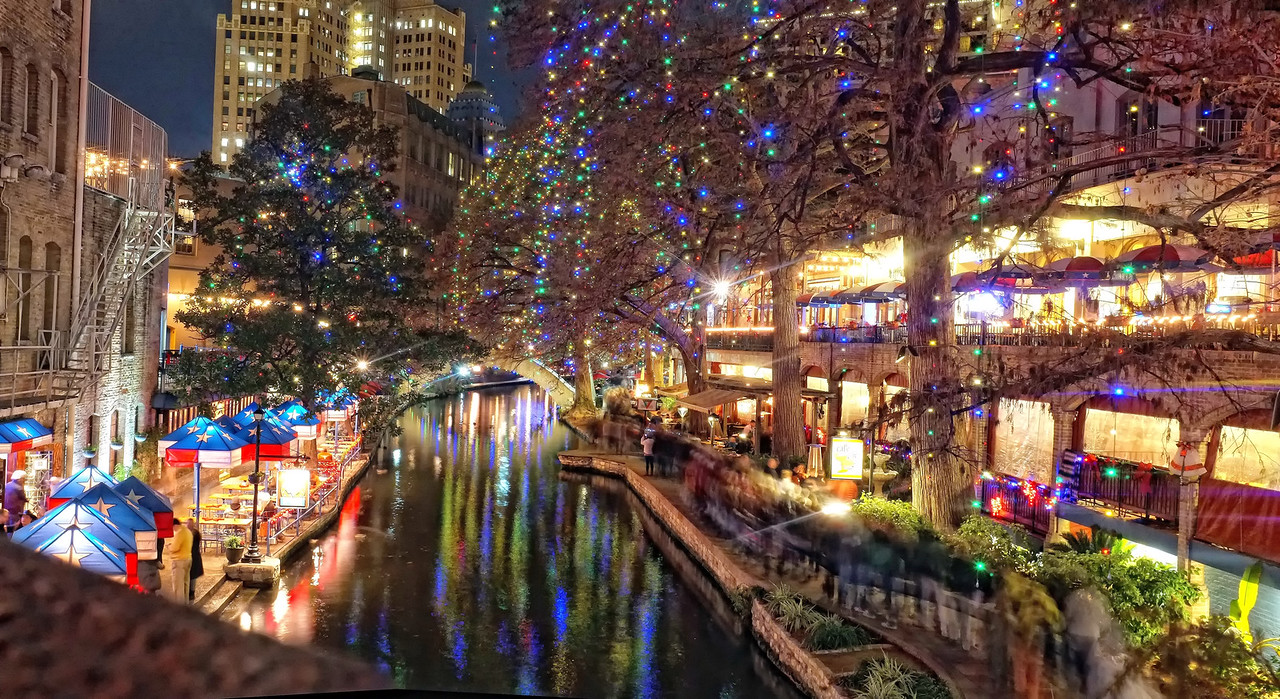 San Antonio Riverwalk with holiday lighting
