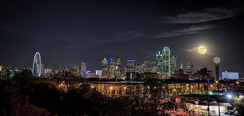 Supermoon over Dallas Skyline