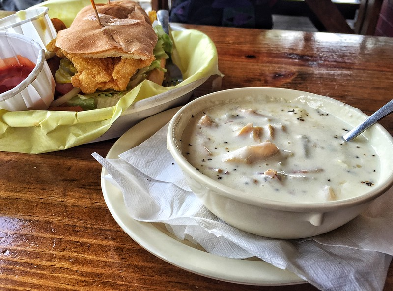 Shrimp Poboy and cup of chowder