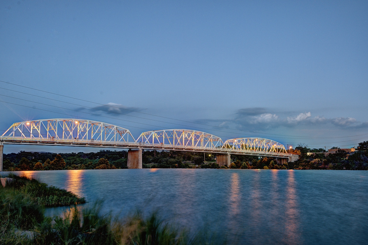Highway 16 truss bridge at the blue hour, Llano, TX