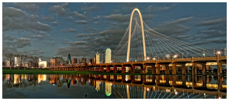 Dallas skyline panorama with Margaret Hunt Hill Bridge