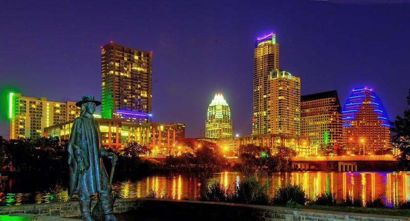 Austin skyline from the Stevie Ray Vaughn memorial on Auditorium Shores