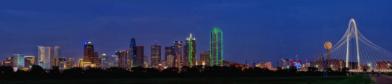 Dallas skyline panorama at the blue hour