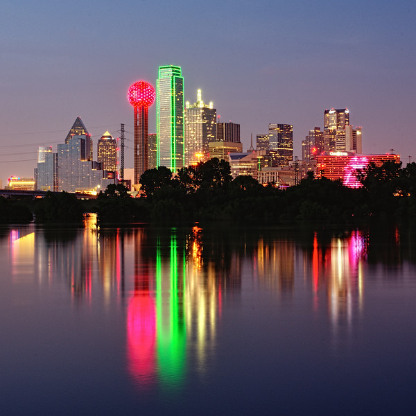 Dallas Skyline reflecting in the Trinity River