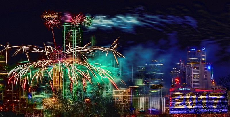 Dallas Reunion Tower New Year's Eve fireworks