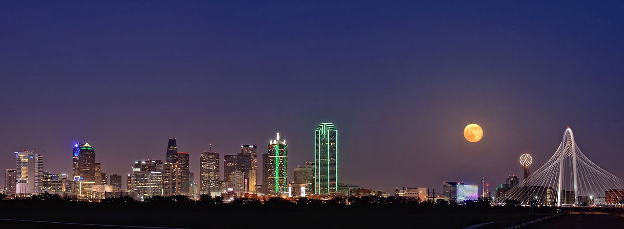 Supermoon rising over downtown Dallas