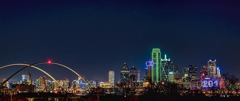 Dallas skyline with new Margaret McDermott bridge