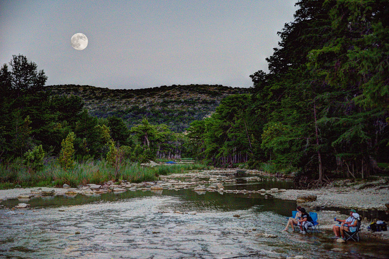 Supermoon rising over the Frio River