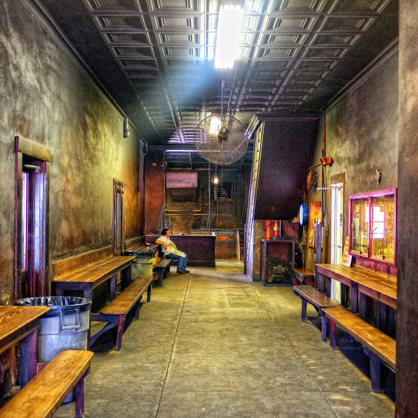The dungeon-like entrance to Smitty's Barbecue, Lockhart, Texas