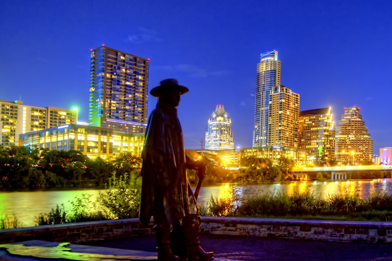 Austin Skyline with Stevie Ray Vaughn statue