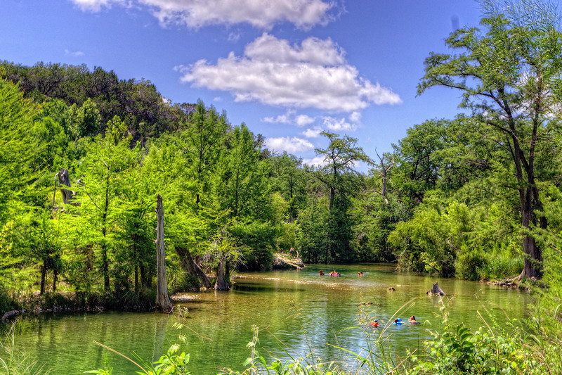 The swimming hole on the Medina River in Bandera, Texas