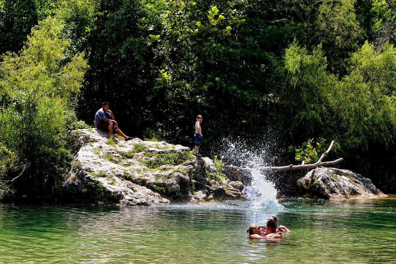 Swimming hole on the Medina River, Bandera