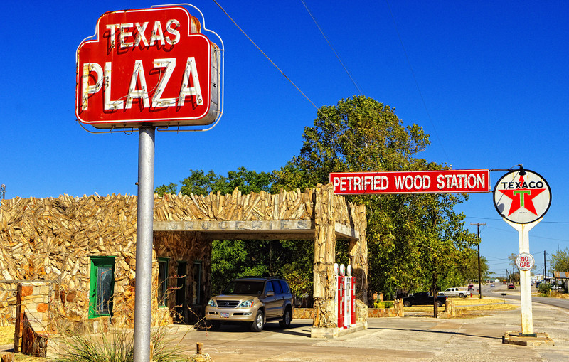 Petrified Wood Station next door to the Whistle Stop Cafe in Decatur, TX