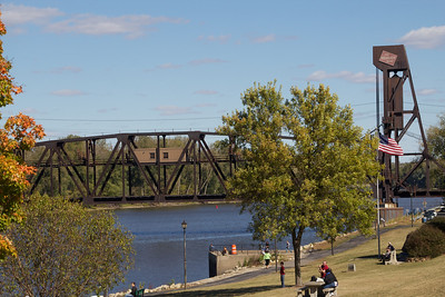 The railroad bridge..not to be forgotten...still doing its job of taking trains across many times a day.  9.24.12
