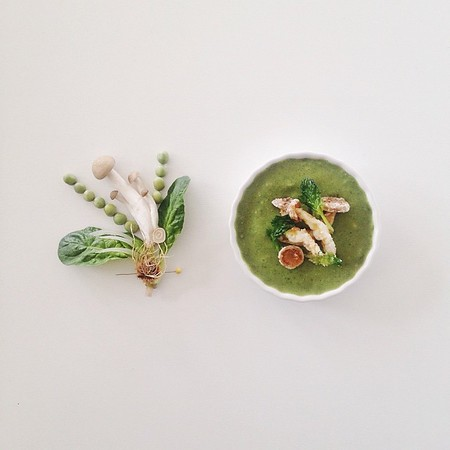 Pea and spinach soup topped with fried bunashimeji mushrooms.