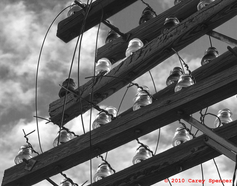 Black and White photograph of old Wire Insulators along train tracks downtown Birmingham, Alabama