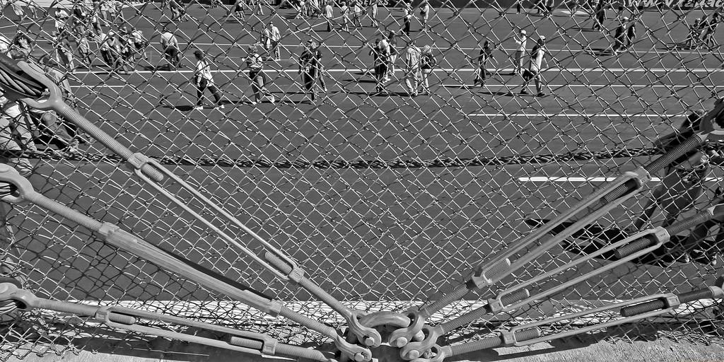 Fans crossing track before Talladega race