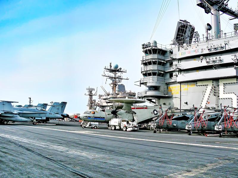 Aircraft Carrier USS Harry S. Truman (CVN 75) Flight Deck - Bridge, F/A-18s, MH-60s, and E-2C.