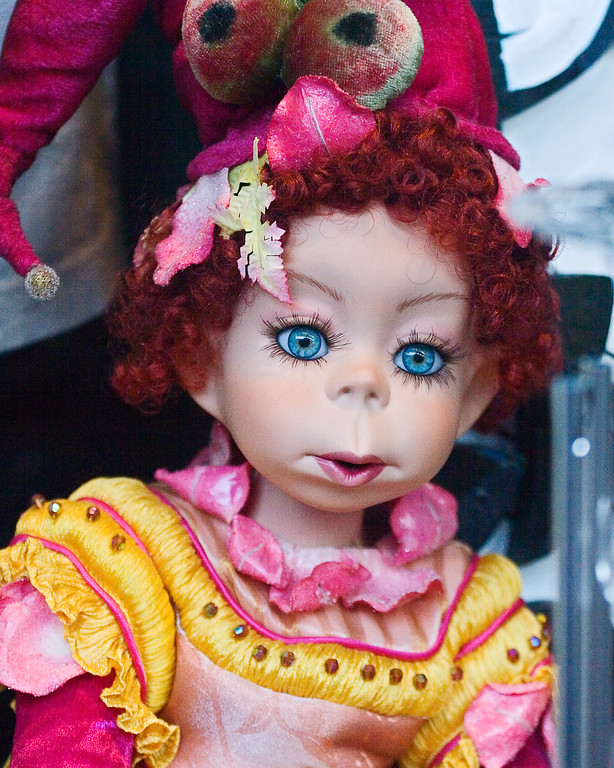 New Orleans' doll with baby blues in the window