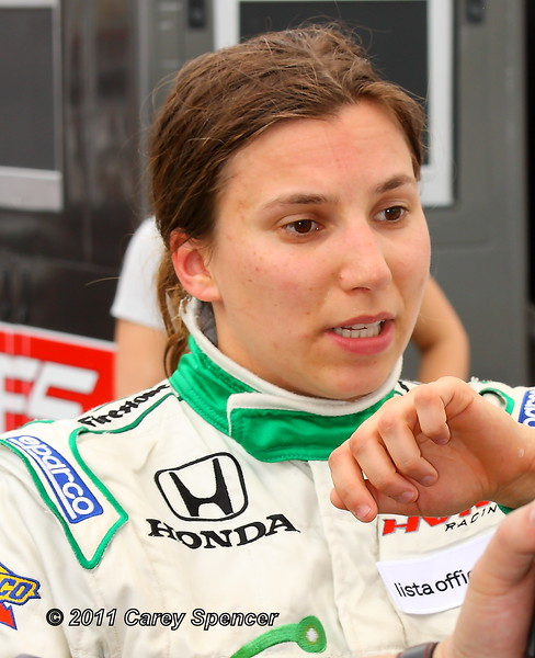 Simona de Silvestro Out of Car After Practice on Friday for the Honda Indy Grand Prix of Alabama