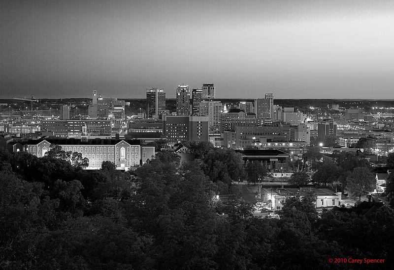 Birmingham, Alabama Skyline right before dawn.  Black and White