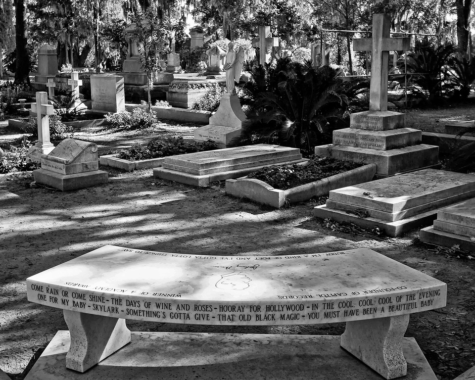 """Johnny Mercer grave site in Bonaventure Cemetery (made famous by """"Midnight in the Garden of Good and Evil"""") Savannah Georgia"""