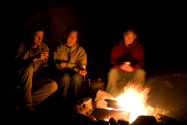 Enjoying the campfire at our campsite near the trailhead on Friday night.