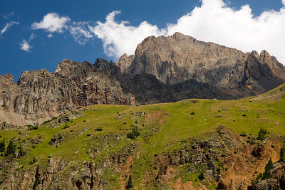 A closer look at the summit of Mt. Sneffels from our campsite....