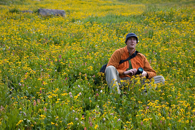 Andrew stopping to smell the flowers.....actually, we just stopped to take a break because we were going straight up. Didn't really realize how abundant the wildflowers were until I took this picture and then realized that we were sitting in a carpet of wildflowers!