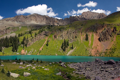 Lower Blue Lake with Mt. Sneffels in the background. Taken at the stream near our campsite. It's not common to see lakes this color in Colorado....this area felt a lot more like BC with the jagged peaks and glacial colored lakes.