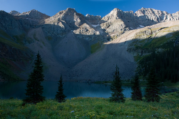 Early morning sunlight at Lower Blue Lake.