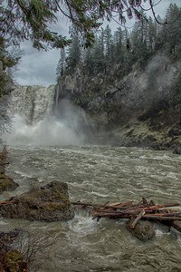 Snoqualmie Falls Flood Stage From Riverside Portrait View